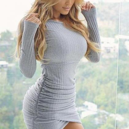 Sexy Solid Color Long Sleeve Bodyco..