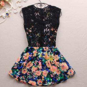 Slim dress lace stitching color-667..