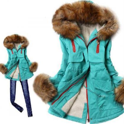 Fur collar wool coat sleeve hooded ..