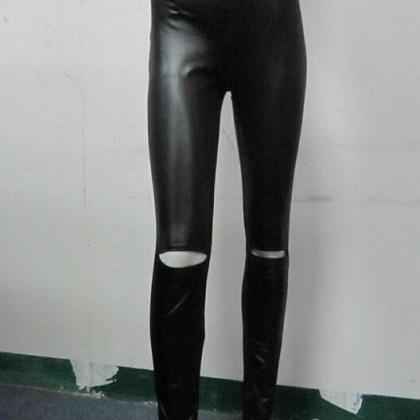 Fashion tight high waist hole leath..
