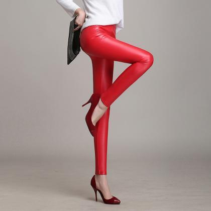 Solid color high waist tight trouse..