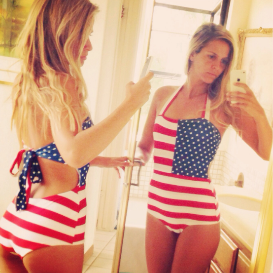c0f4a9d63b74 American Flag Sexy Fashion Print Halter One Piece Swimwear Bikini Swimsuit  OM164003