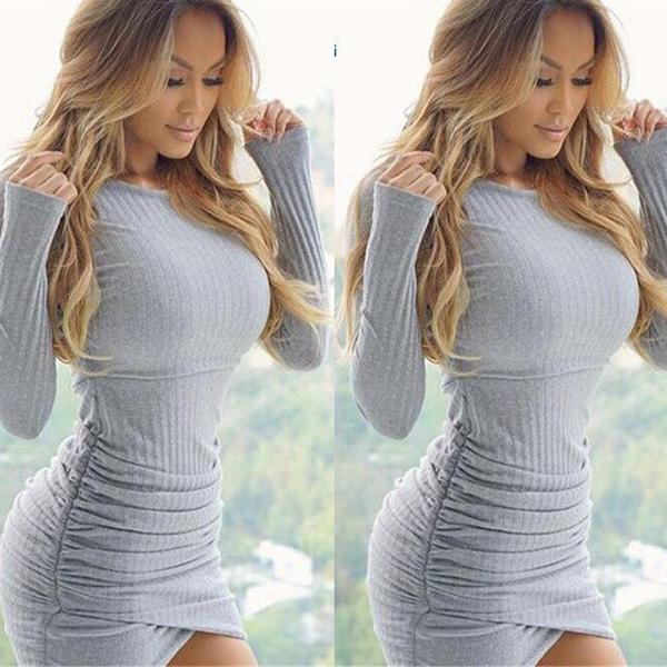 Sexy Solid Color Long Sleeve Bodycon Irregular Slim Fit Mini Dress Knitwear AC13576