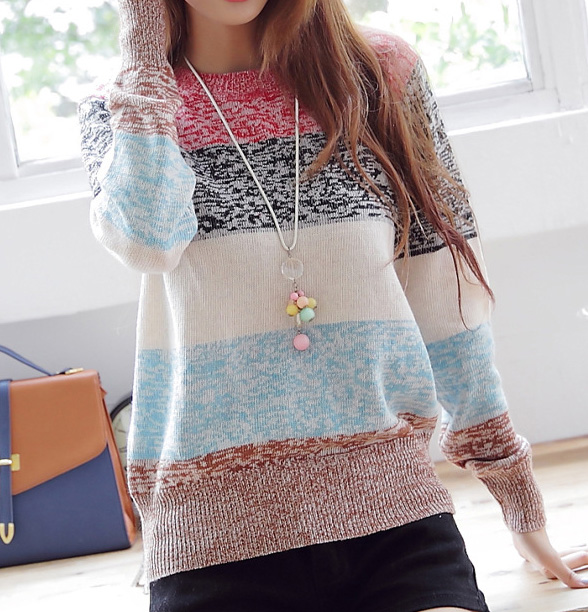 Striped pullover knitted sweater tops A080520