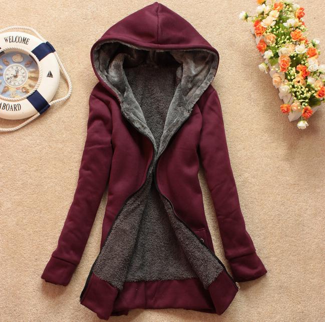 Plus Velvet Long Sleeved Hooded Sweater Coat Loose Jchcb On Luulla