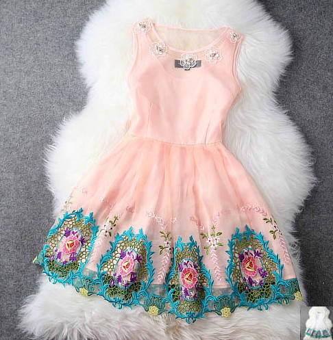 Spring And Summer High- Beaded Embroidery Princess Dress H44235