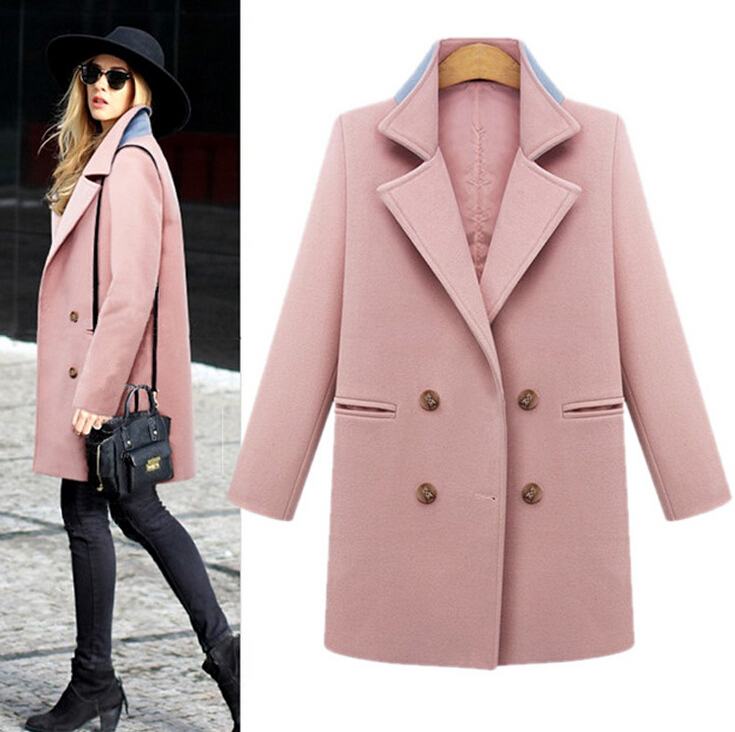Solid color double-breasted woolen coat 6180249