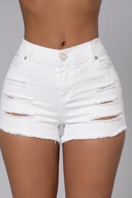Sexy Fashion Distressed Crisscross Ripped Tight Shorts OM164037