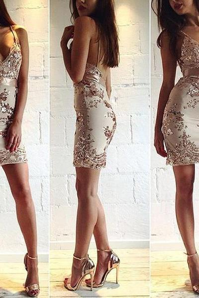 Backless Strap Deep V-Neck Sequin Dress OM160978