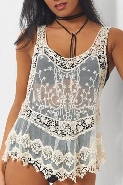 Sexy Lace Hollow Vest Tank Top Cami OM161013