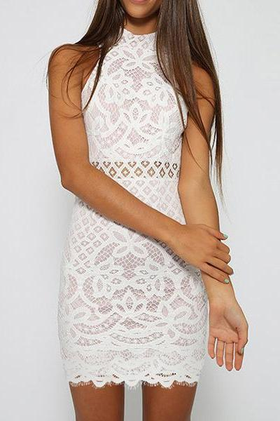 Lace Hollow Bodycon Sleeveless Dress SG71668