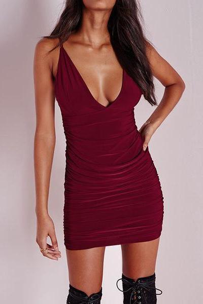 Sexy Strap V-Neck Bodycon Dress ZM54371