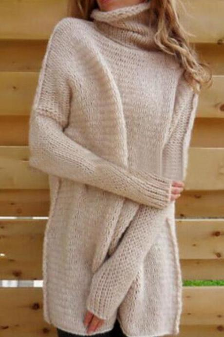 Women Fashion Simple Knit Turtleneck Long Sleeve Top Sweater Pullover HY103105