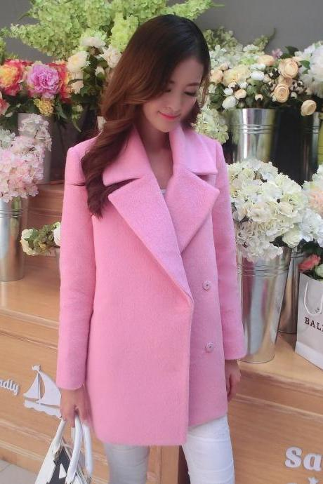 Fashion pink double-breasted wool coat 8862184