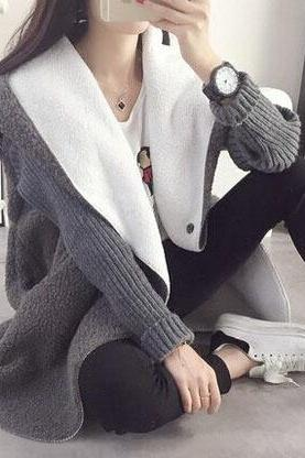 Loose thick knit cardigan 1605877