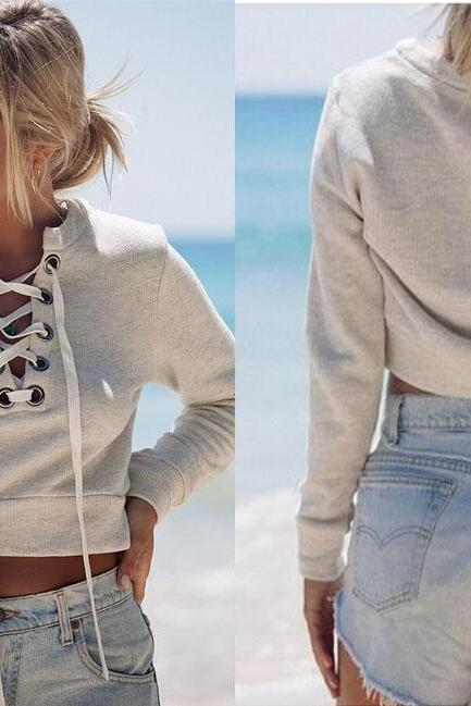 Lace-Up Plunge V Cropped Long Sleeved Pullover