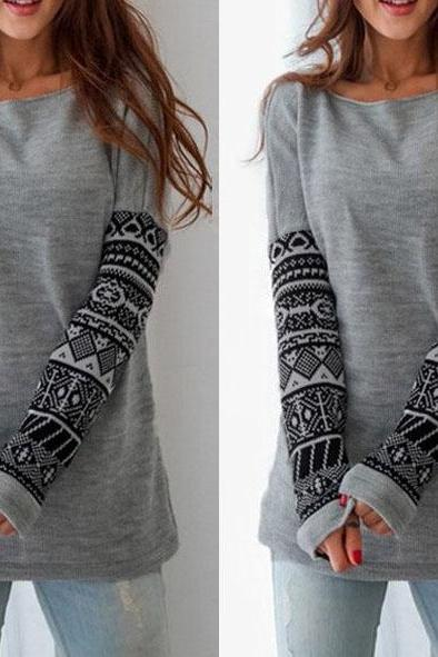 Fashion long-sleeved printing sweater 8106231