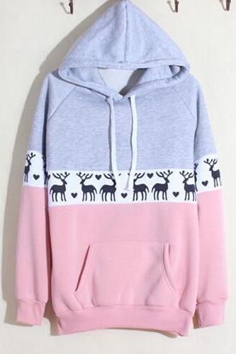 Fashion deer printing hooded sweater 5130669