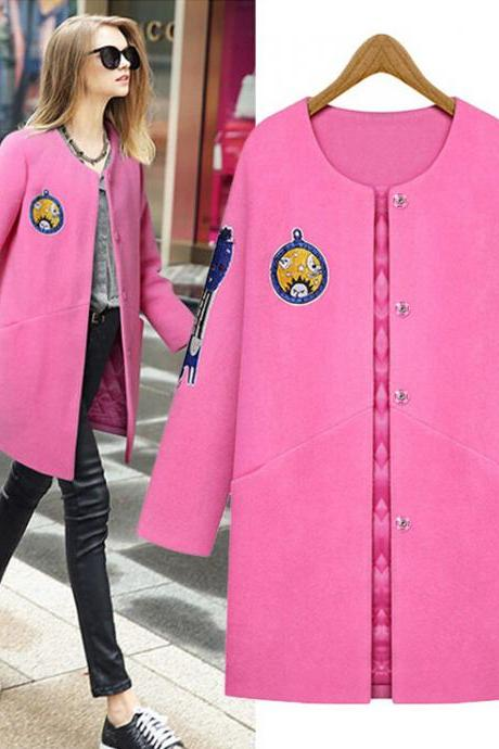 Patchwork Long Woolen Coat with Crew Neck