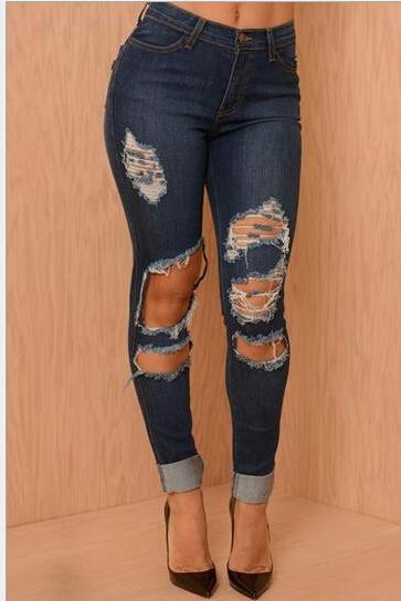Fashion hole jeans stretch pants 6332084