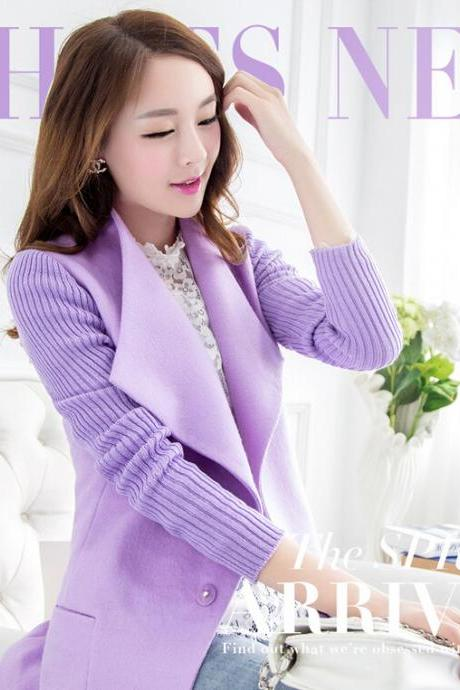 Fashion solid color lapel wool coat 8920174