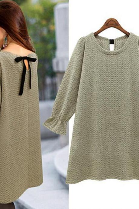Fashion trumpet sleeve Solid color knit sweater 6639218