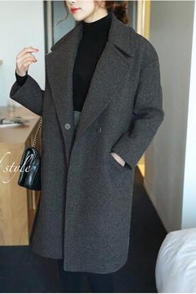 Fashion loose Solid color lapel wool coat 4770893