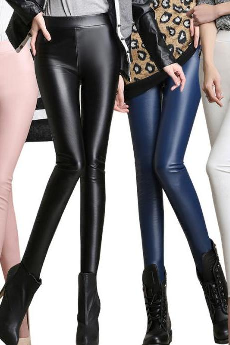 Solid color high waist tight trousers 1995262