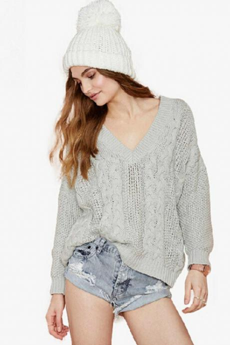 Hollow out loose V-neck sweater 5262195