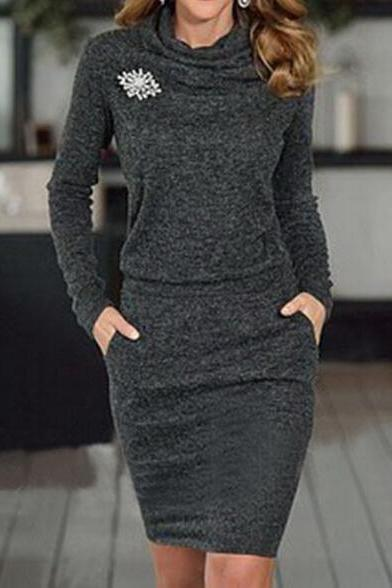Fashion tight long-sleeved Solid color dress 8016328