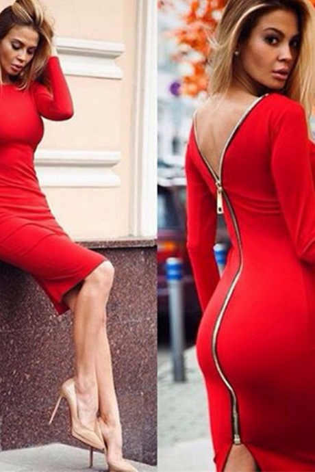 Solid color sexy zipper bodycon dress 7153659