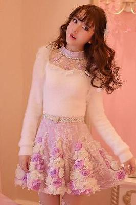 Cute three-dimensional flowers princess skirt 7901548