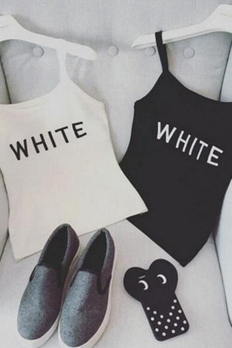 Women's Basic Tank Top with 'White' Letter Printing