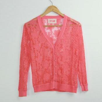 Openwork lace knit cardigan GH804BAB