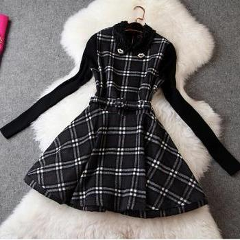 Long-sleeved plaid dress BV1011BI