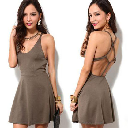 Skater Dress Featuring Scoop Neckline and Open Back with Criss-cross Detailing